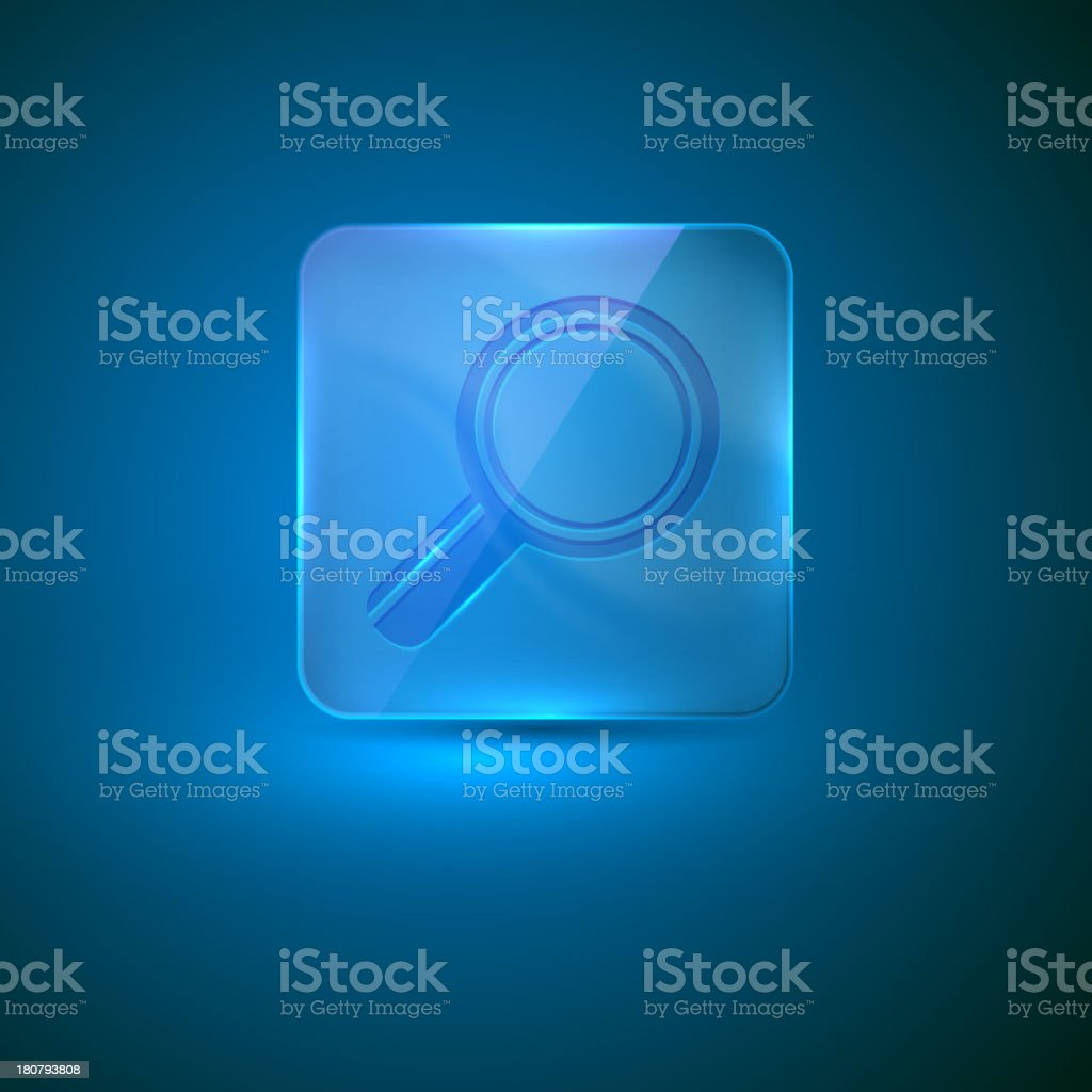 glass icon with a magnifier royalty-free stock vector art