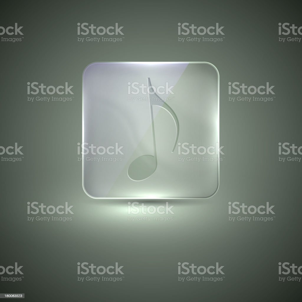 glass icon with musical note royalty-free stock vector art