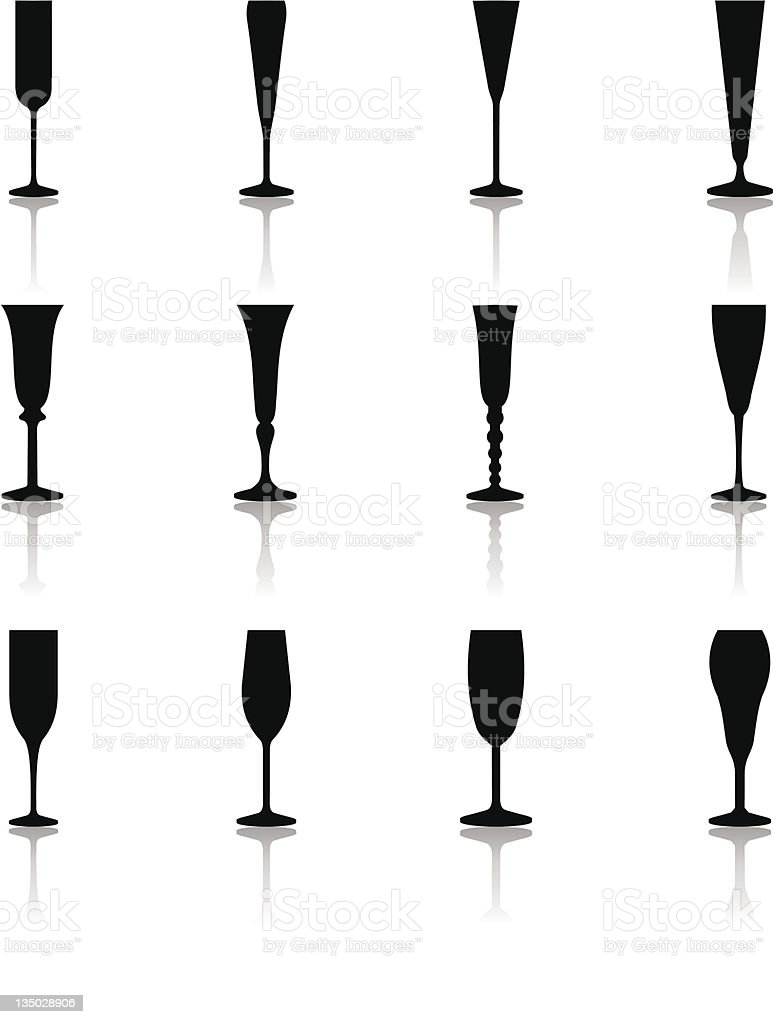 Glass Icons Flute Glasses stock photo