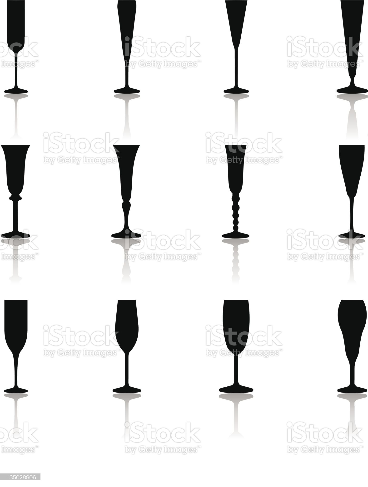 Glass Icons Flute Glasses royalty-free stock photo