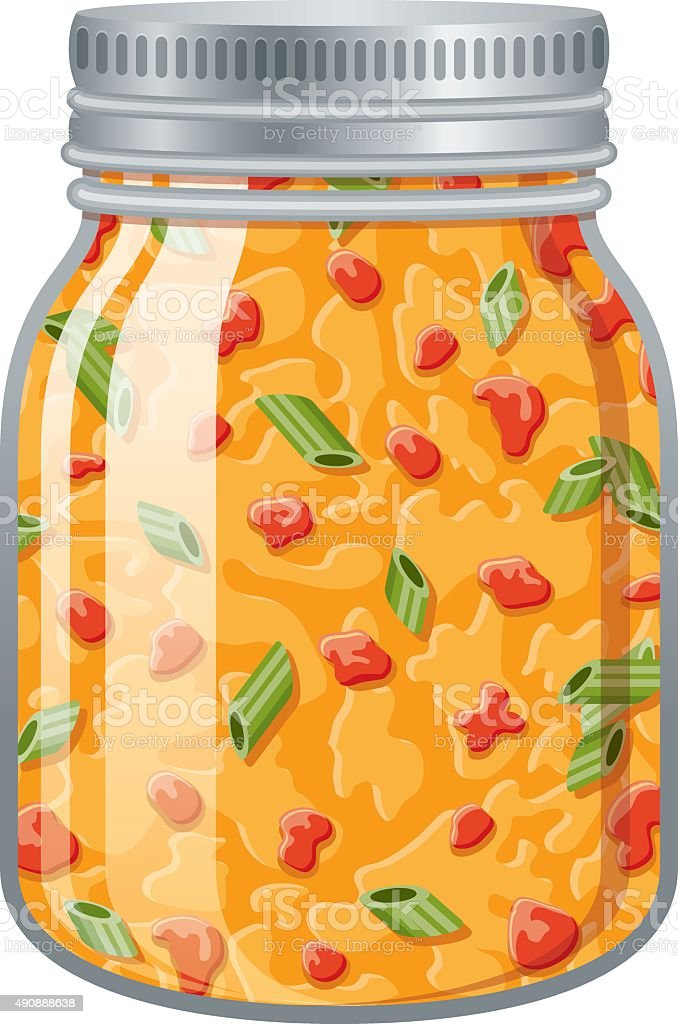 Glass Jar of Queso Cheese Dip vector art illustration
