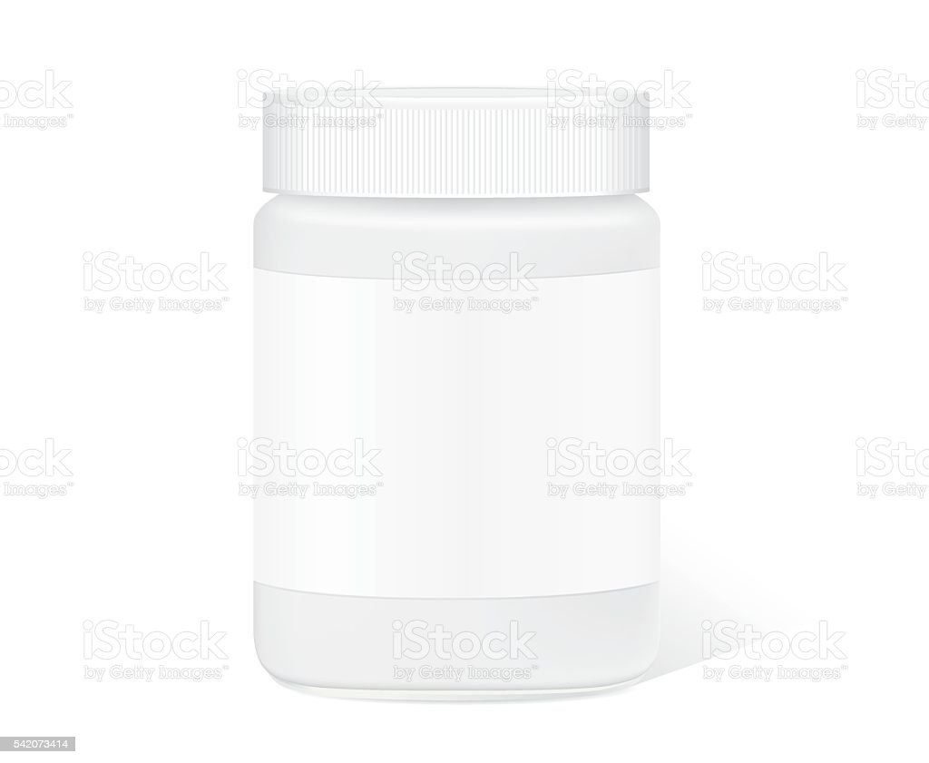 Glass jar with clear label isolated vector art illustration
