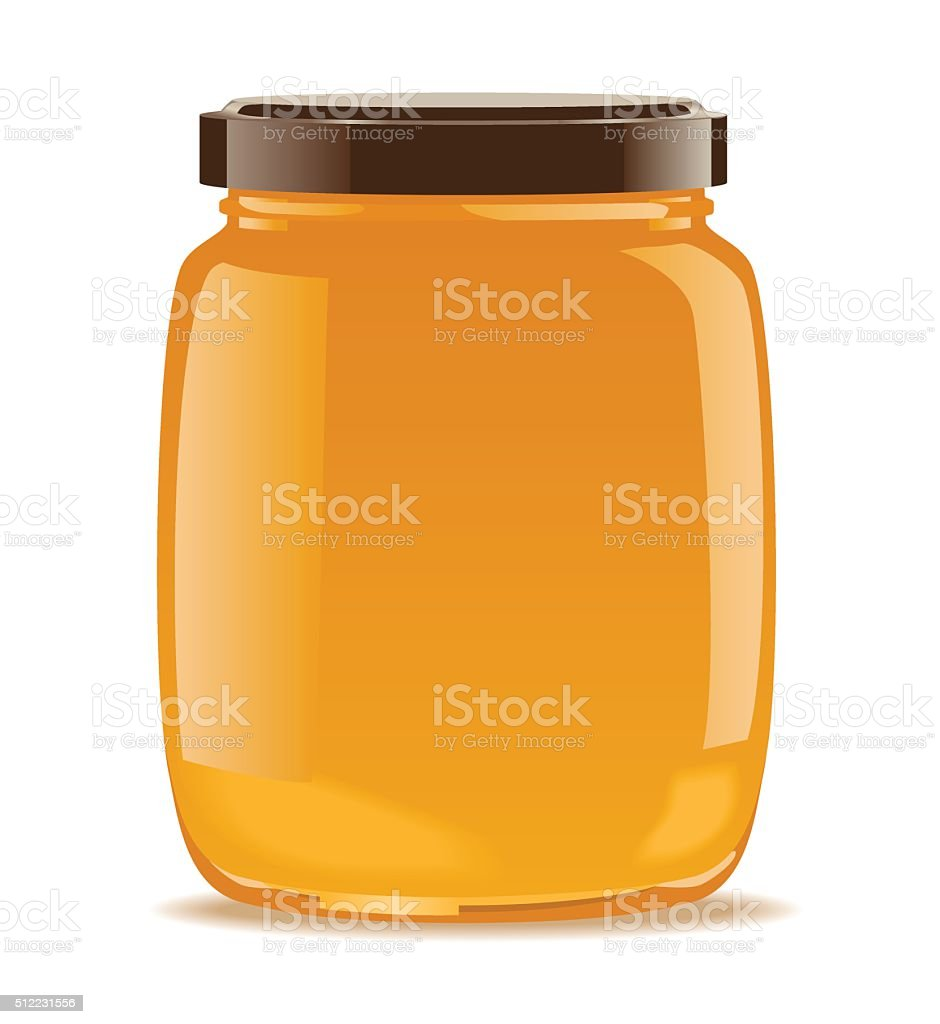 Glass jar with honey vector art illustration