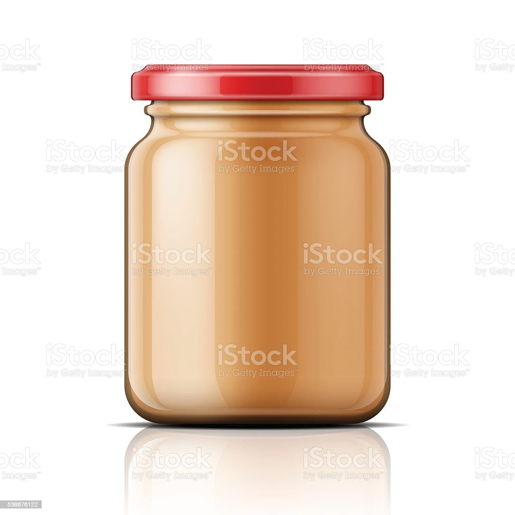Glass jar with peanut butter. vector art illustration