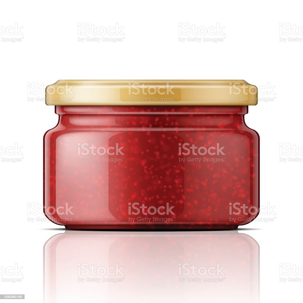Glass jar with raspberry jam. vector art illustration