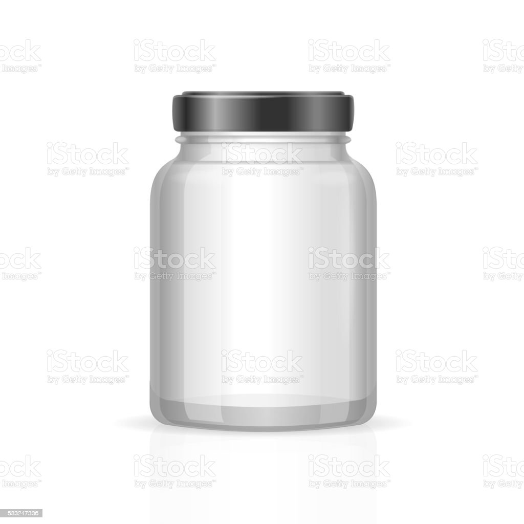 Glass Jars Bottles Empty Transparent. Vector vector art illustration
