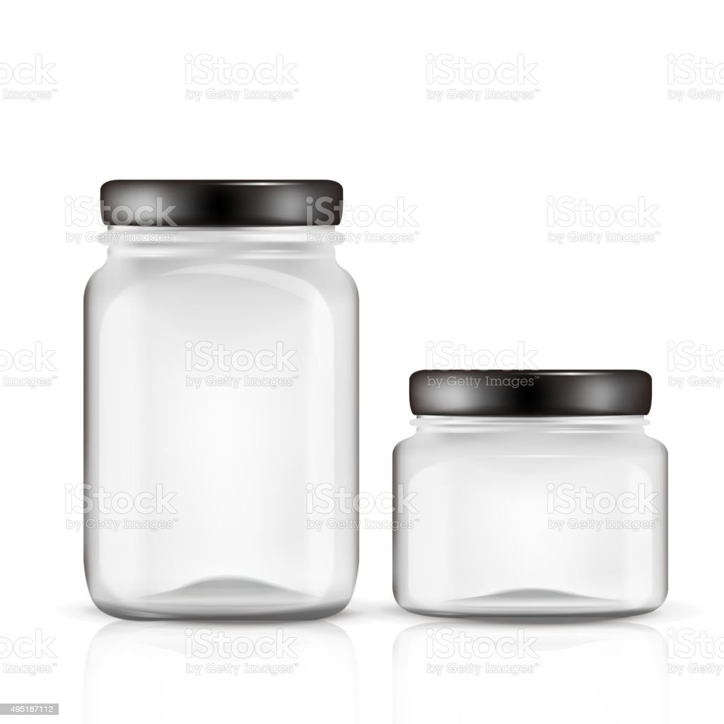glass jars set vector art illustration