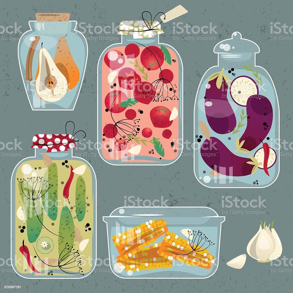 Glass jars with preserved vegetables. vector art illustration