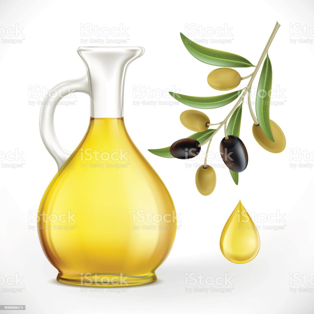 Glass jug with oil and olives with leaves on a branch vector art illustration