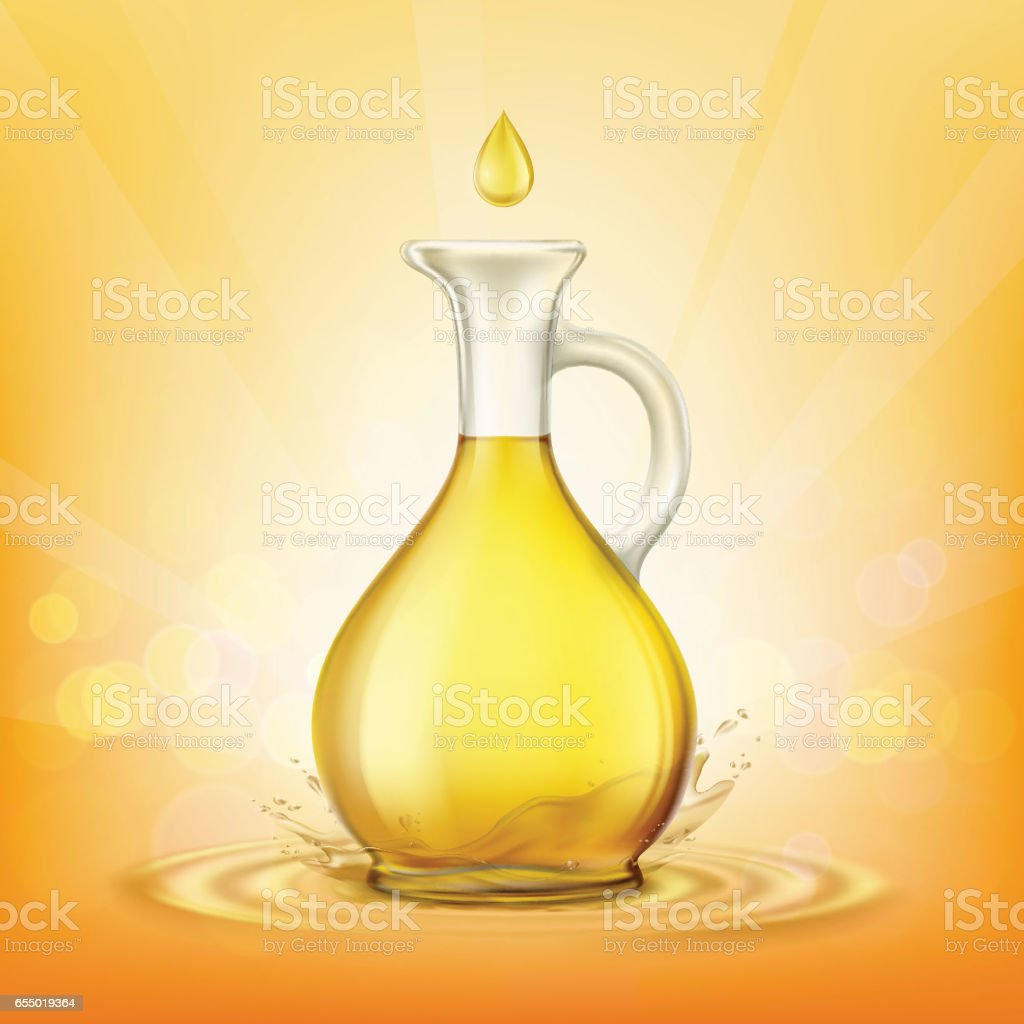 Glass jug with yellow oil and a spray of droplets. vector art illustration