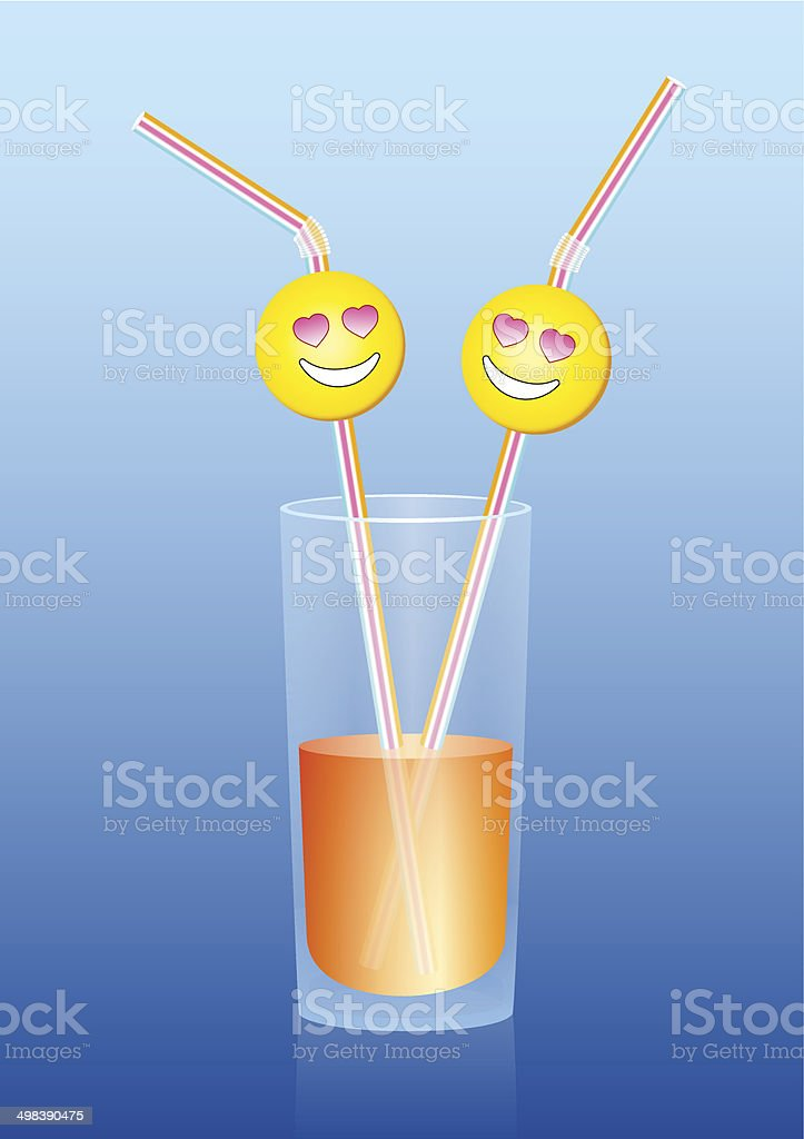 Glass Juice Two Straws in Love royalty-free stock vector art