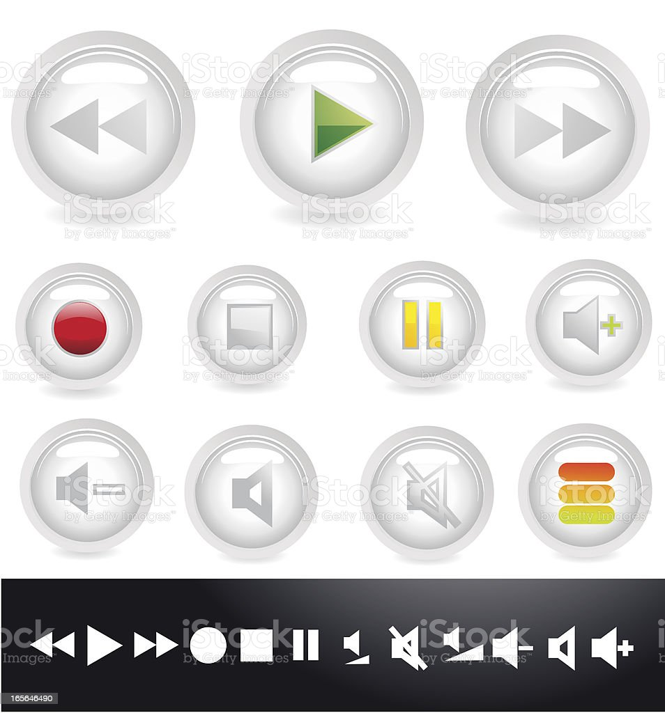Glass Media Buttons royalty-free stock vector art