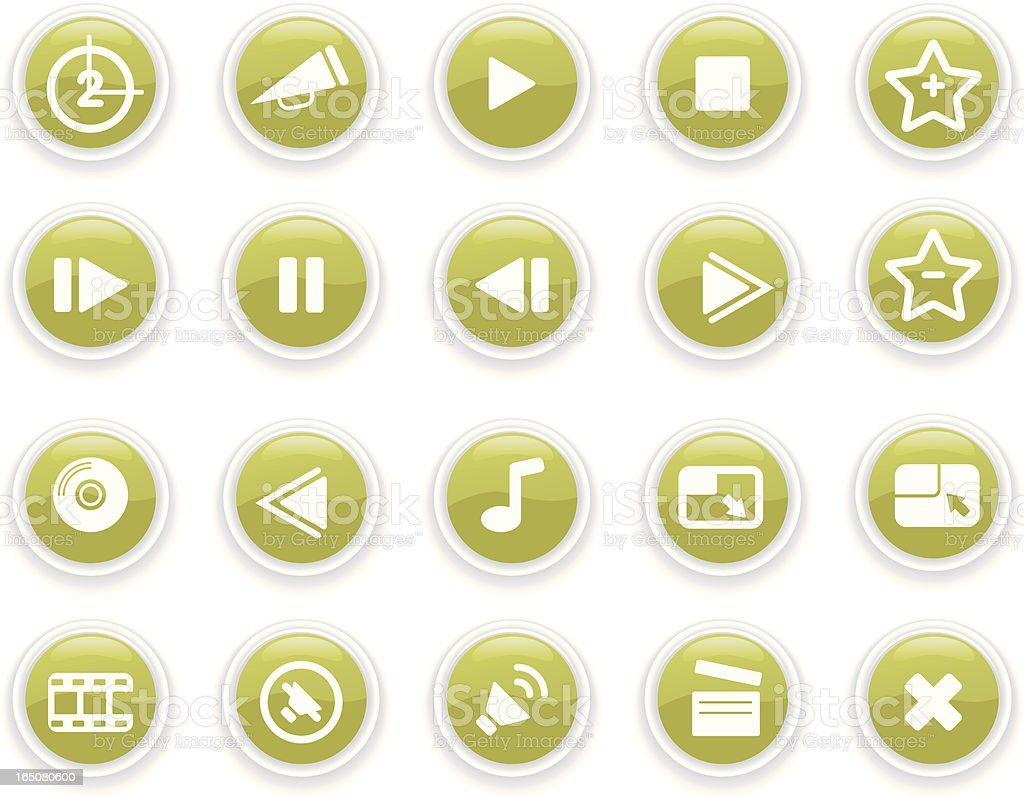 Glass Media Icons royalty-free stock vector art