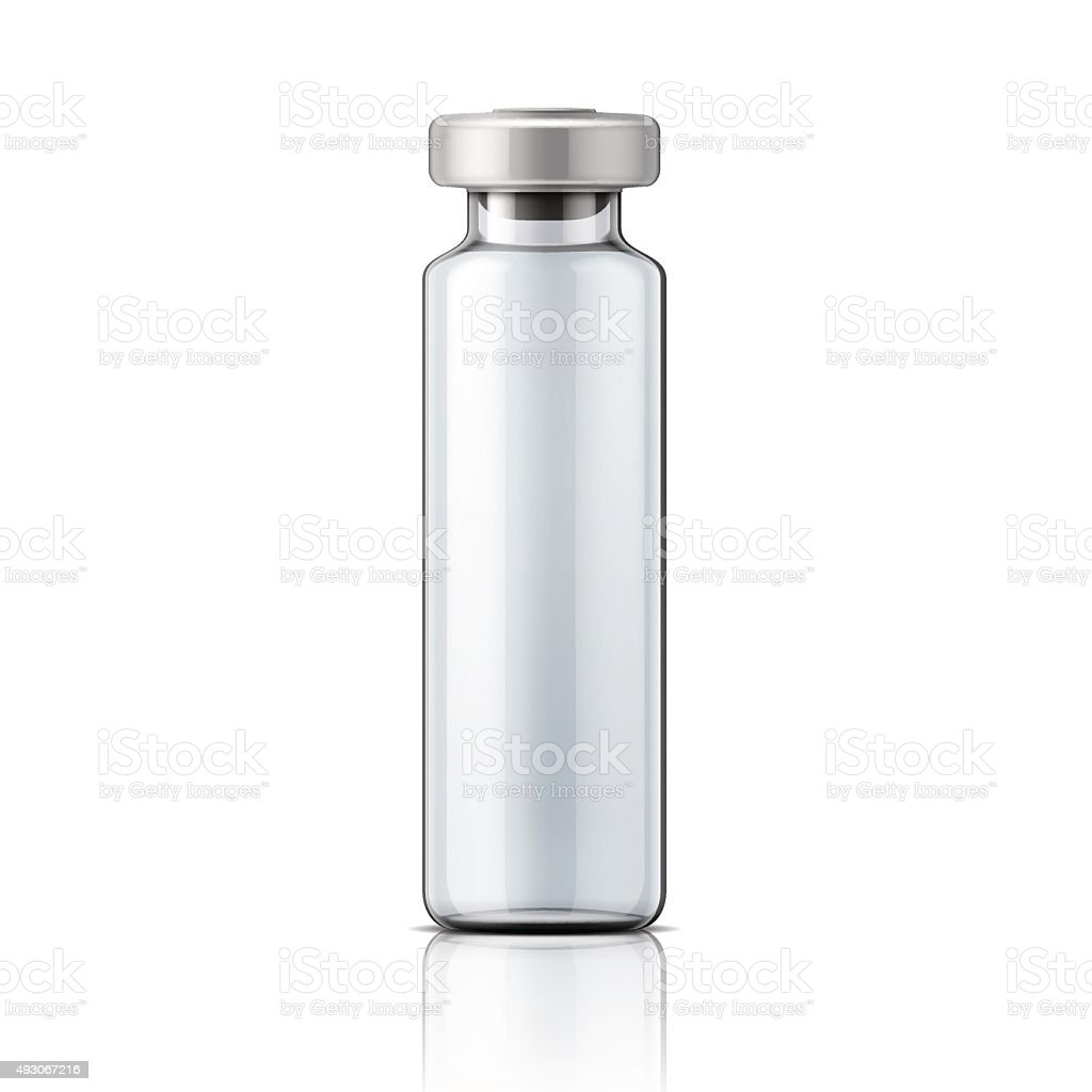 Glass medical ampoule with aluminium cap vector art illustration