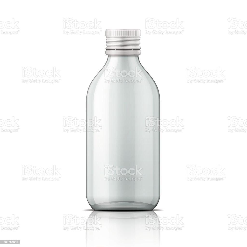 Glass medical bottle with screw cap vector art illustration