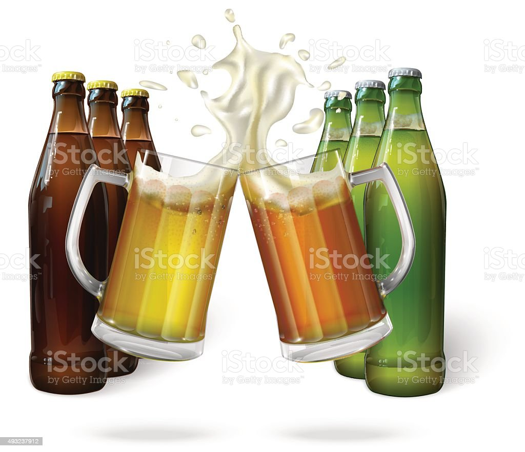 Glass mugs of beer and beer bottles vector art illustration