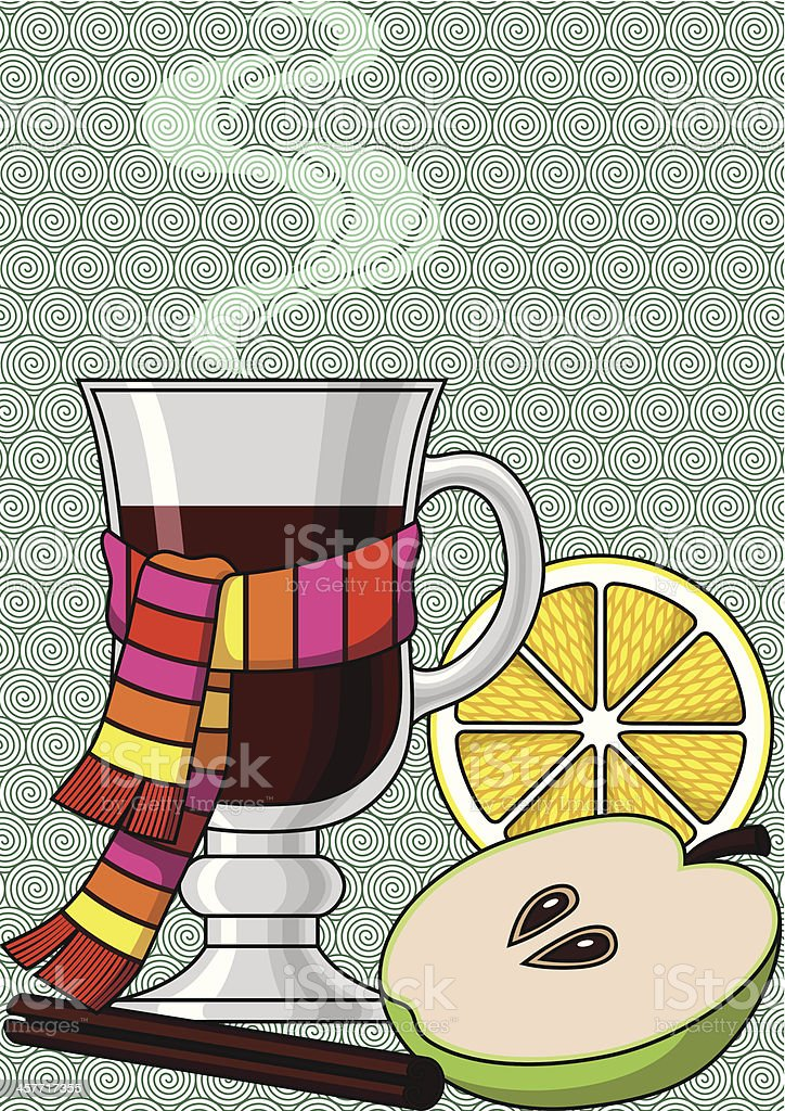 Glass of a Mulled Wine royalty-free stock vector art