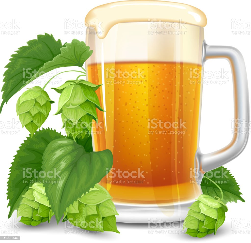 Glass of beer and hops vector art illustration