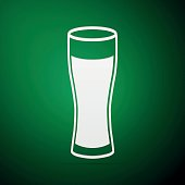 Glass of beer flat icon on green background. Vector Illustration