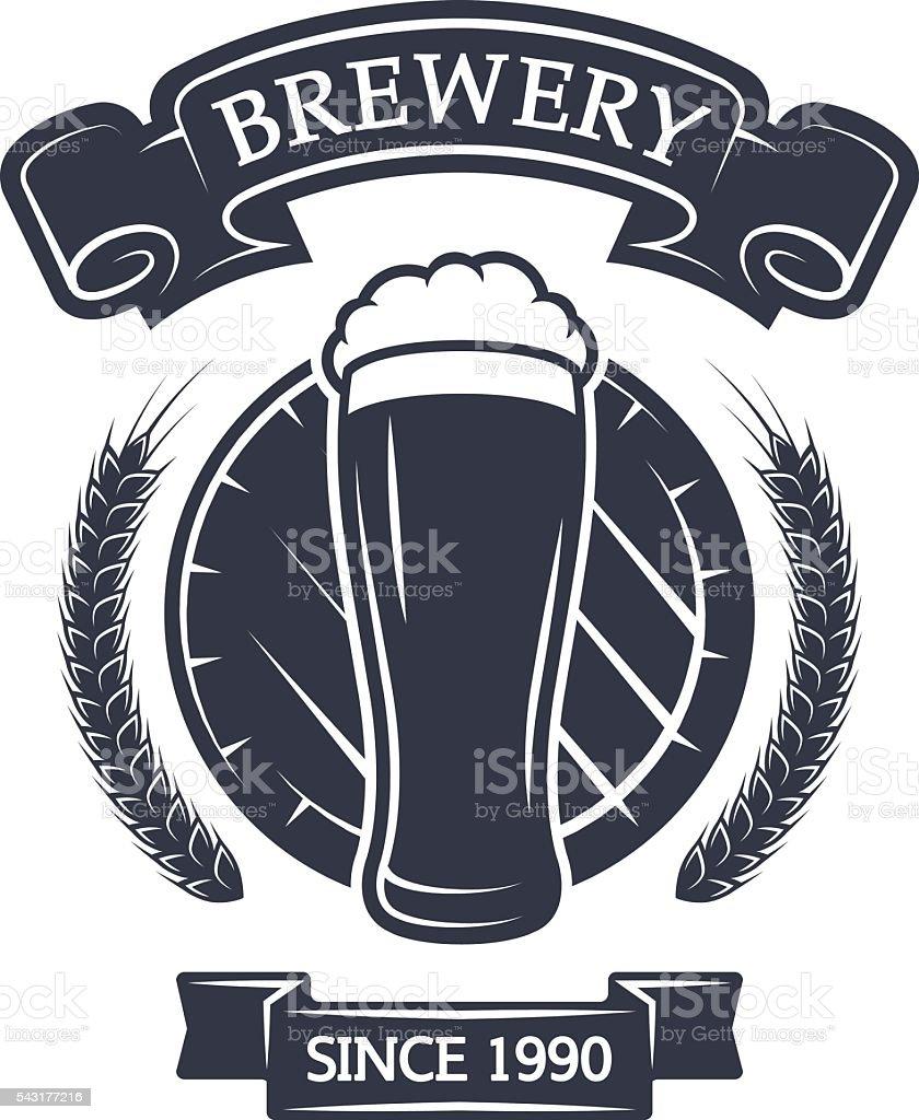 Glass of beer on background barrel. vector art illustration