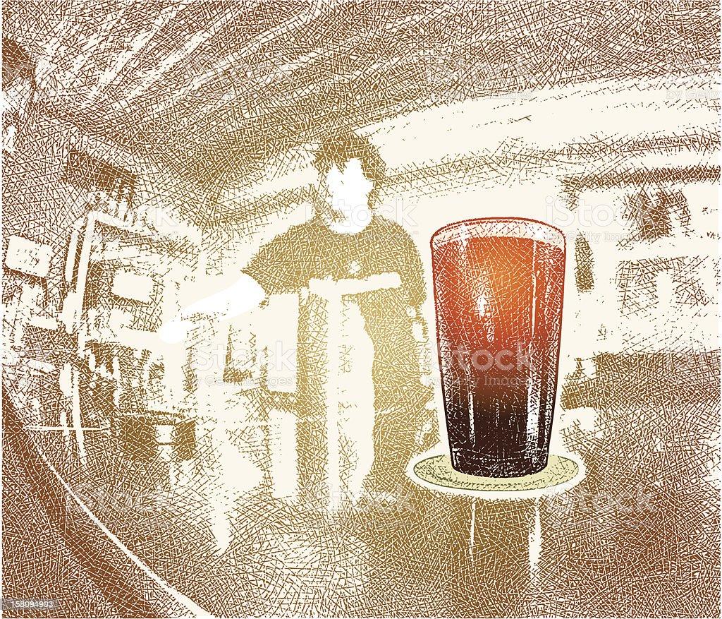 Glass Of Beer On Bar vector art illustration