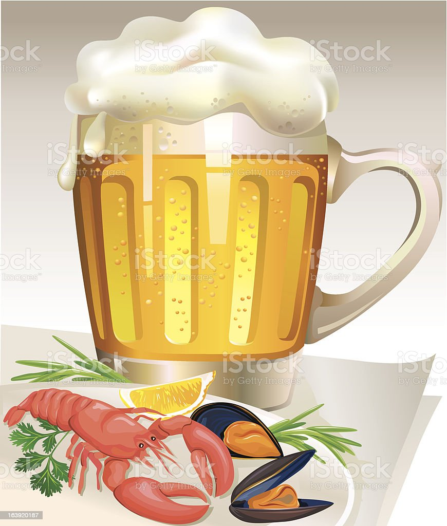 Glass of beer with seafood royalty-free stock vector art
