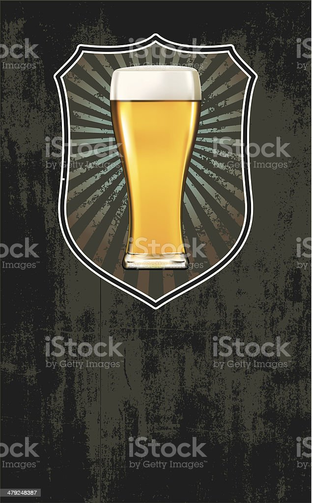 glass of beer with shield and background vector art illustration