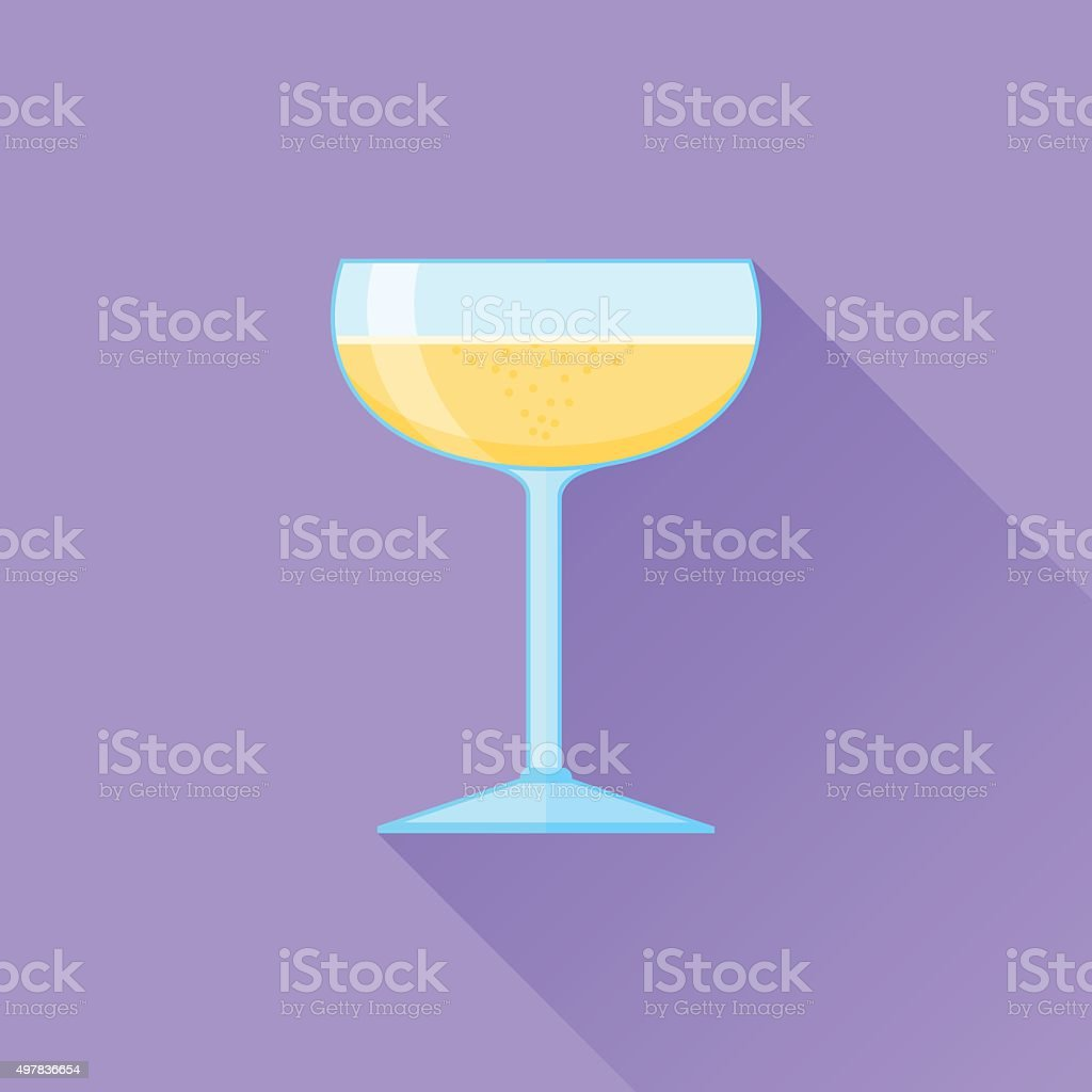 Glass of champagne flat icon vector art illustration