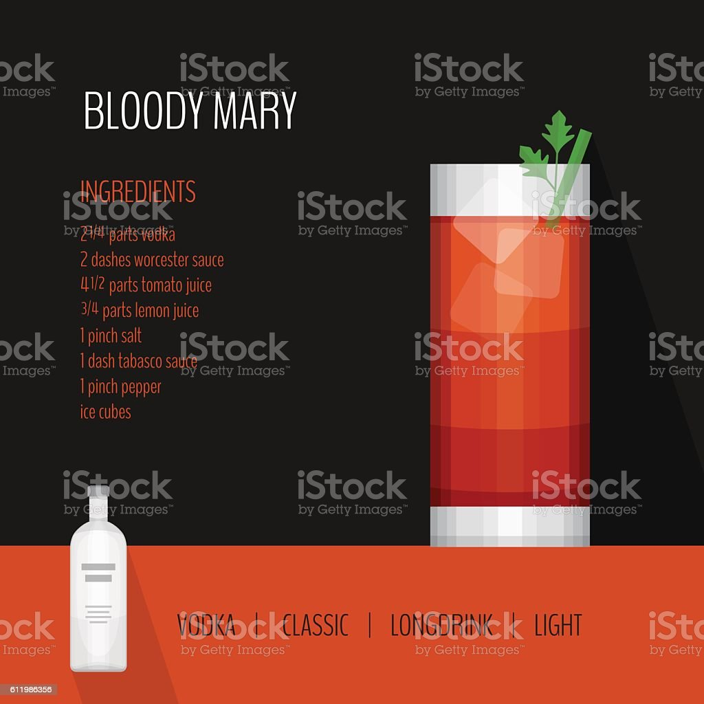 Glass of cocktail bloody mary on black background vector art illustration