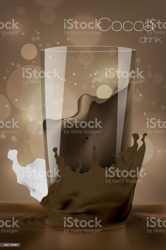 Glass of cocoa with milk royalty-free stock vector art