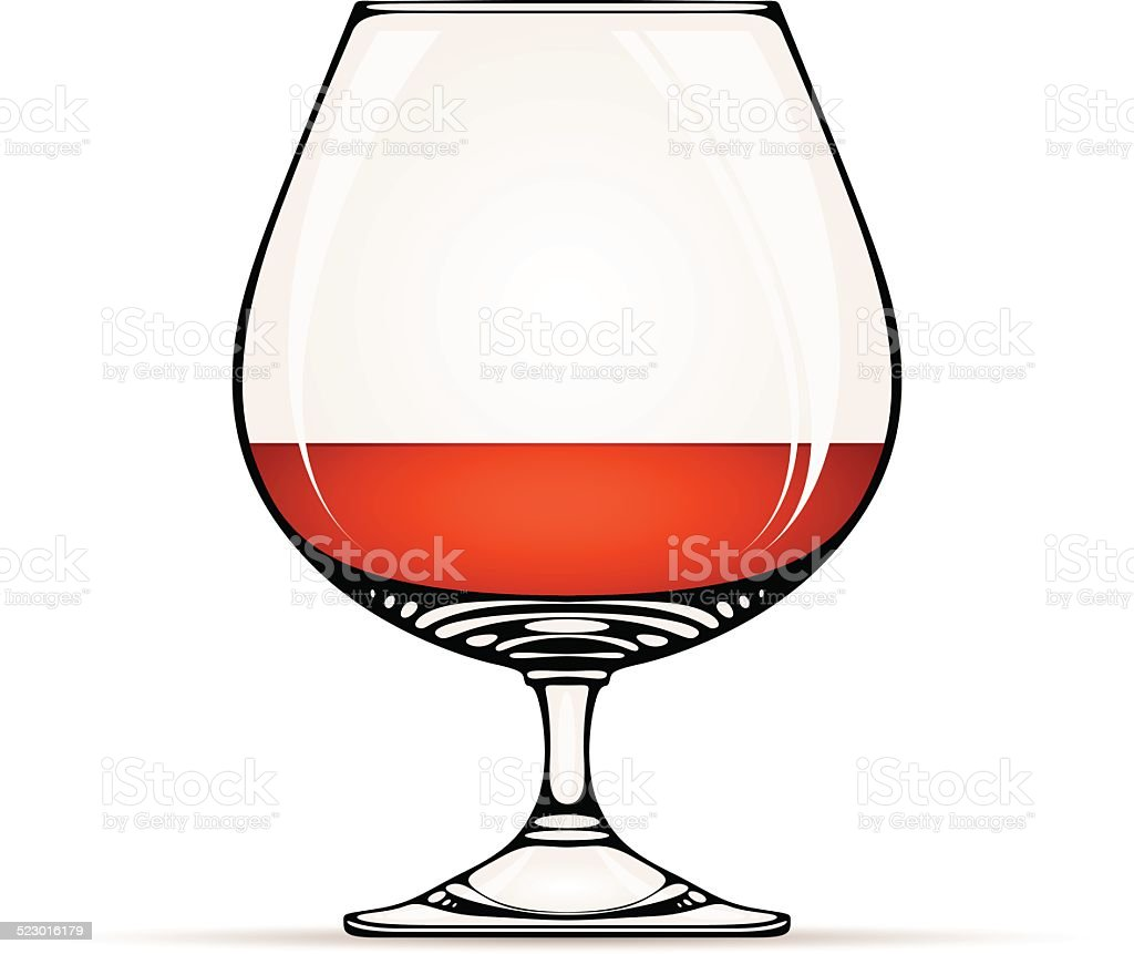 Glass of cognac. vector art illustration