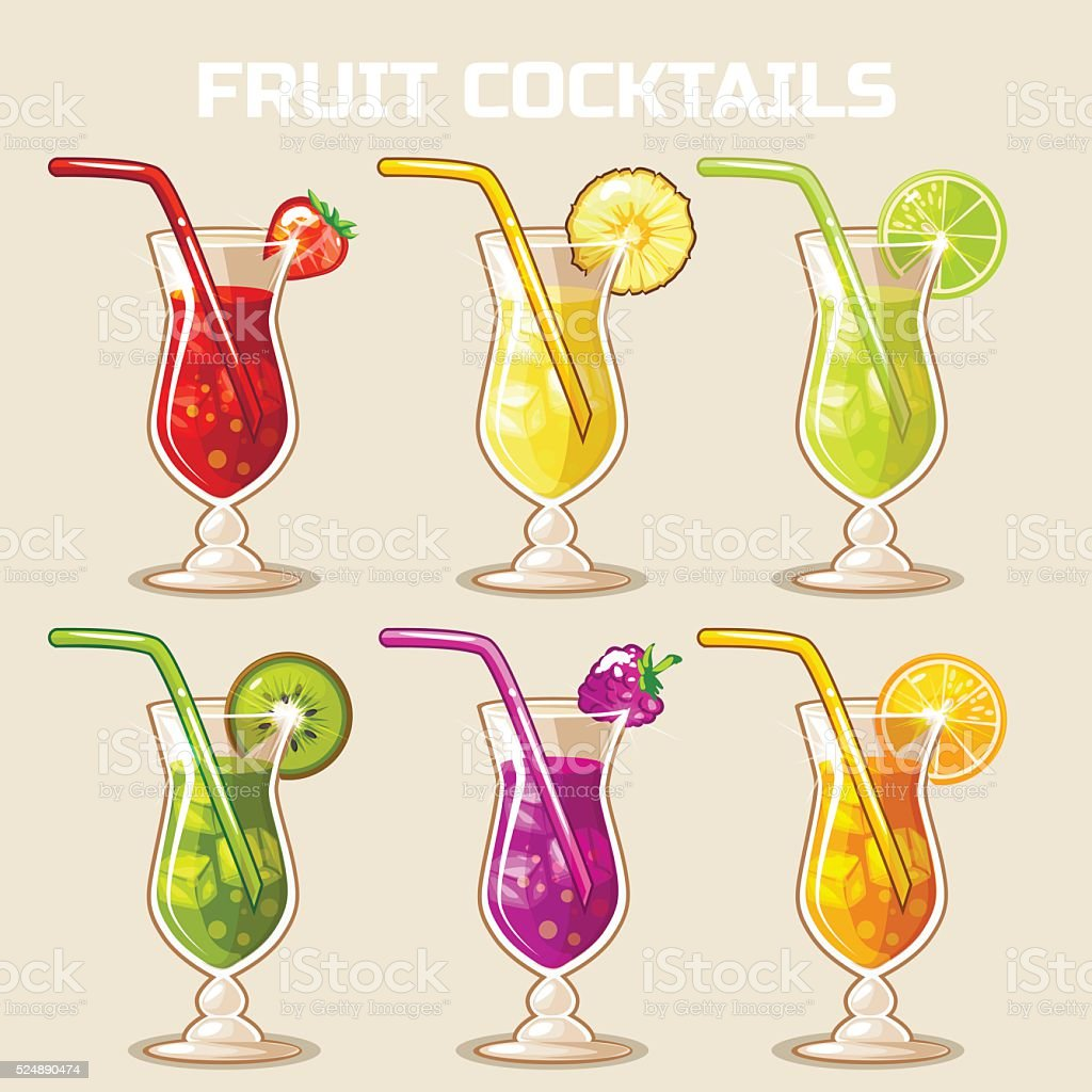 glass of cold fruit cocktails with ice vector art illustration
