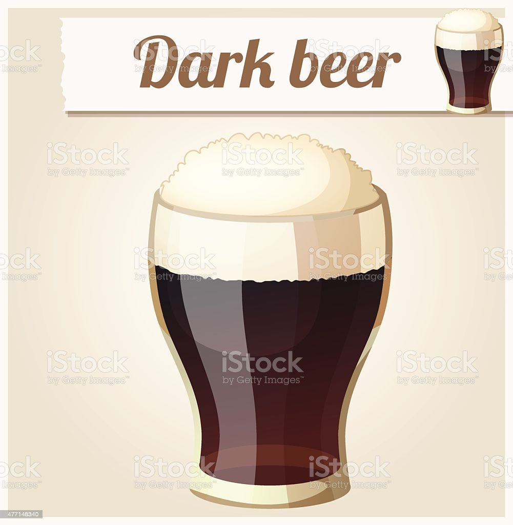 Glass of dark beer. Detailed Vector Icon vector art illustration