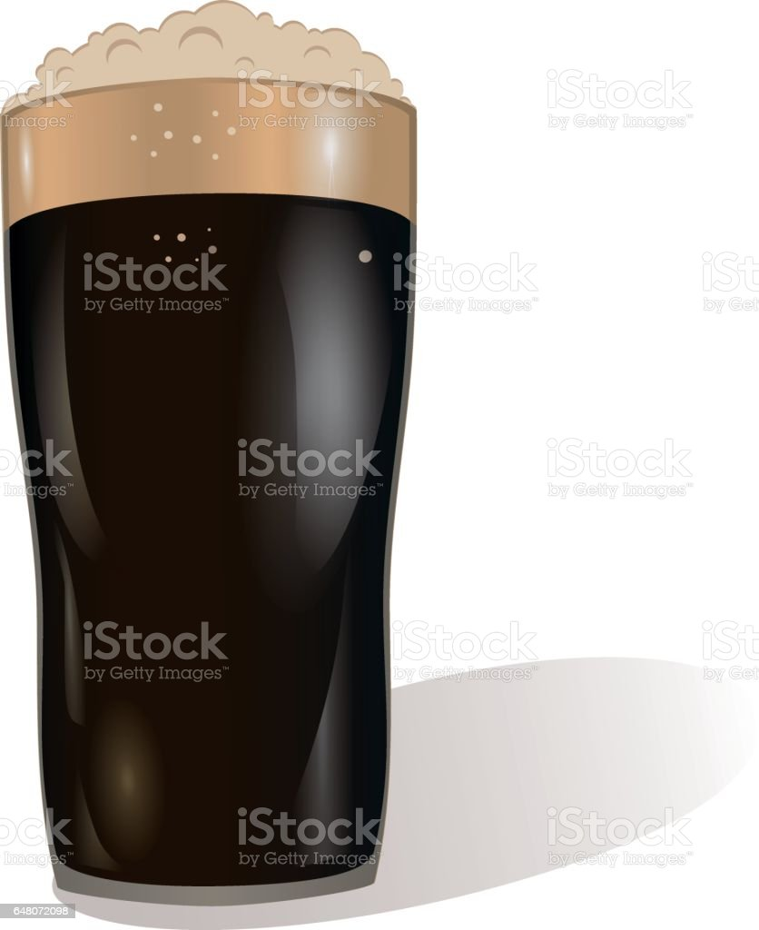 A glass of dark beer. Invitation to the St. Patrick's Day. Greeting card. Free space for your ad or text. Vector illustration on white background. vector art illustration