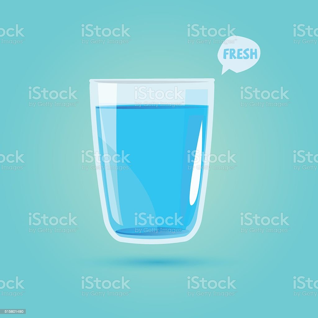 glass of drinking water. healthy drink concept - vector vector art illustration