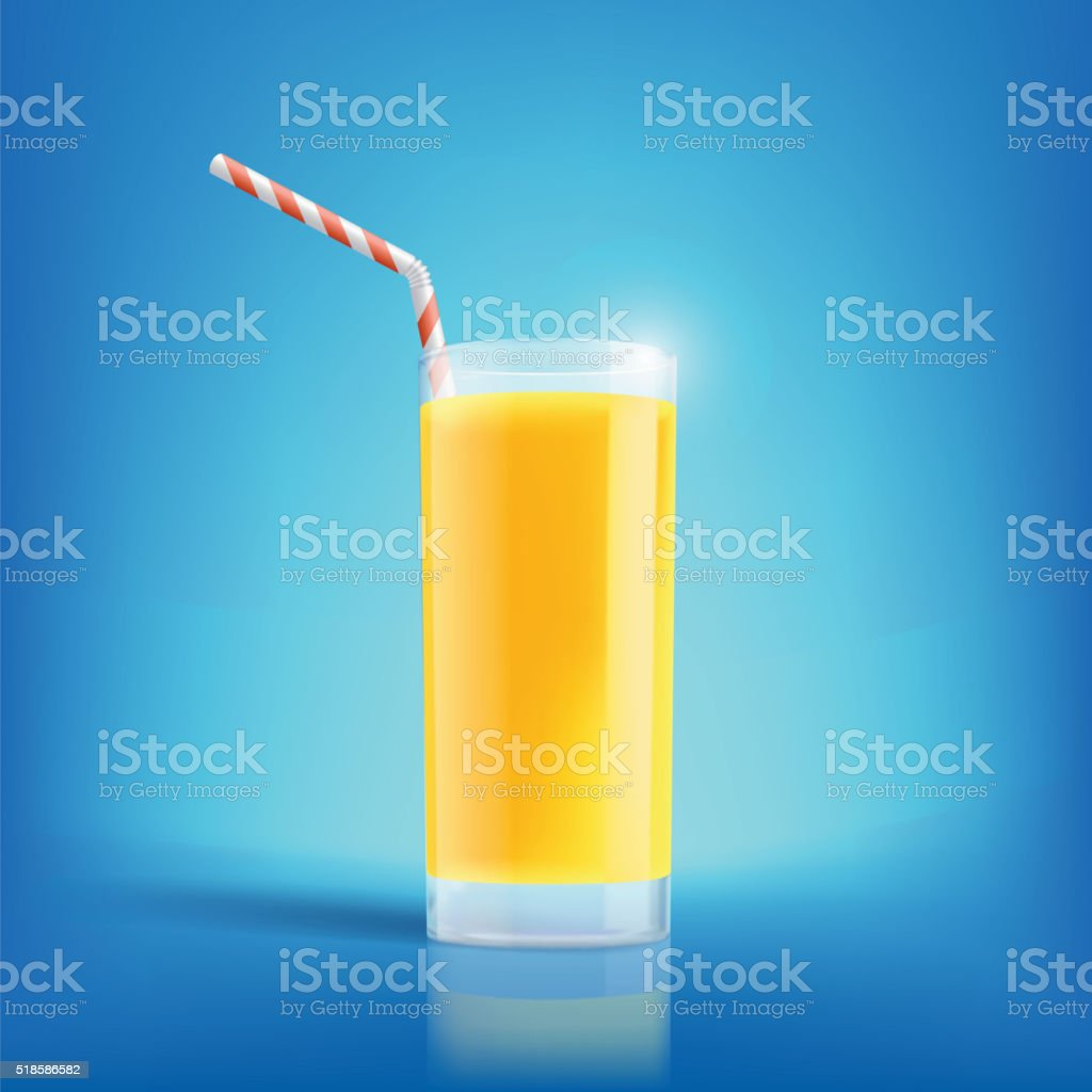 Glass of freshly squeezed orange juice. vector art illustration