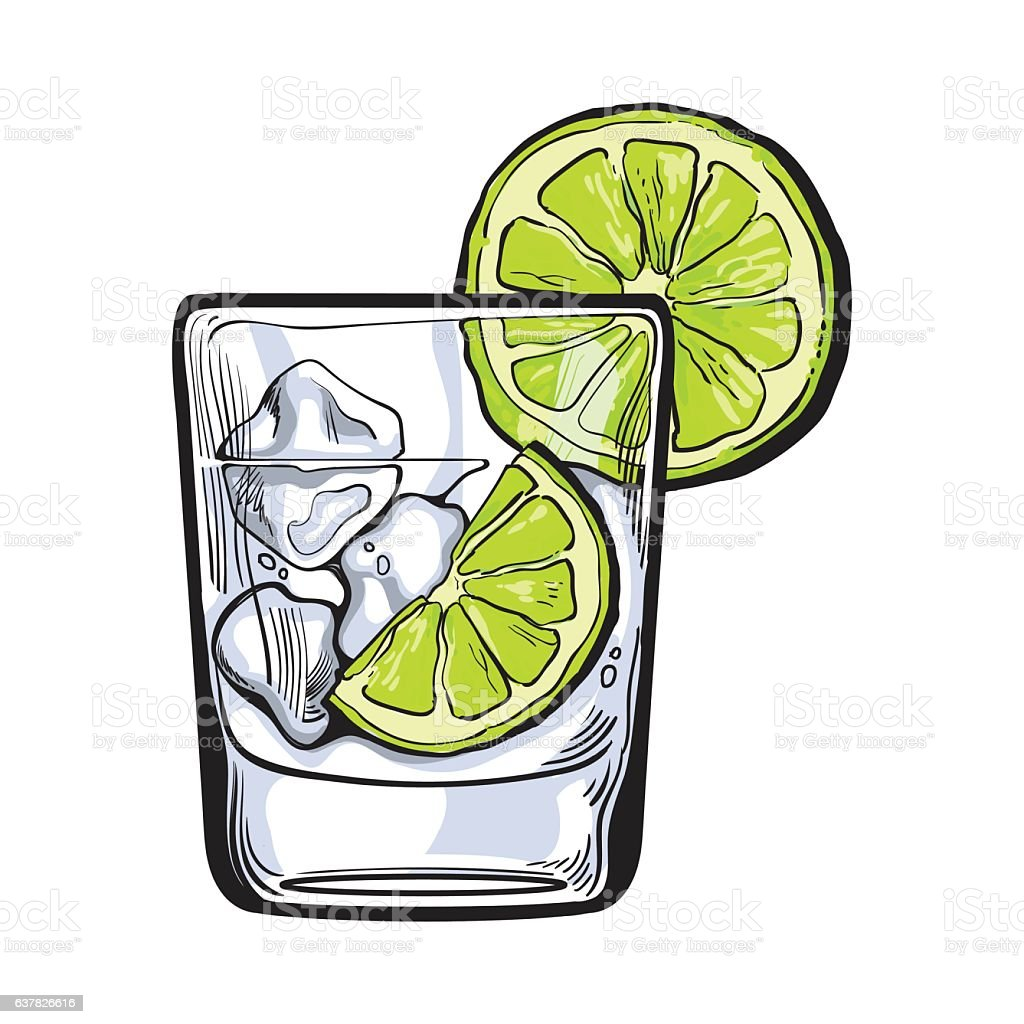 Glass of gin, vodka, soda water with ice and lime vector art illustration