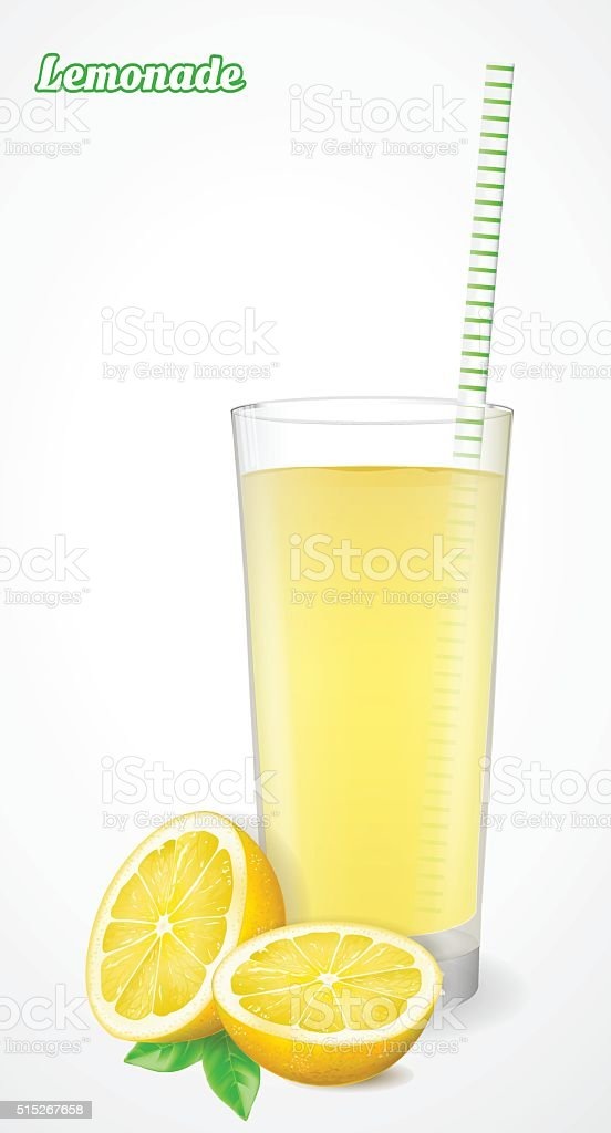 Glass of lemonade with straw and half a lemon. vector art illustration