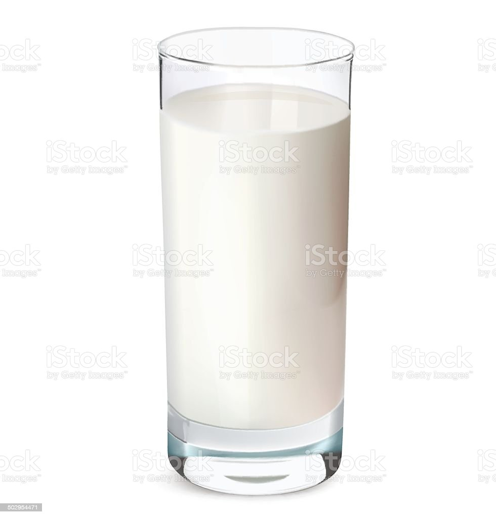 Glass of milk isolated on white. Vector illustration vector art illustration