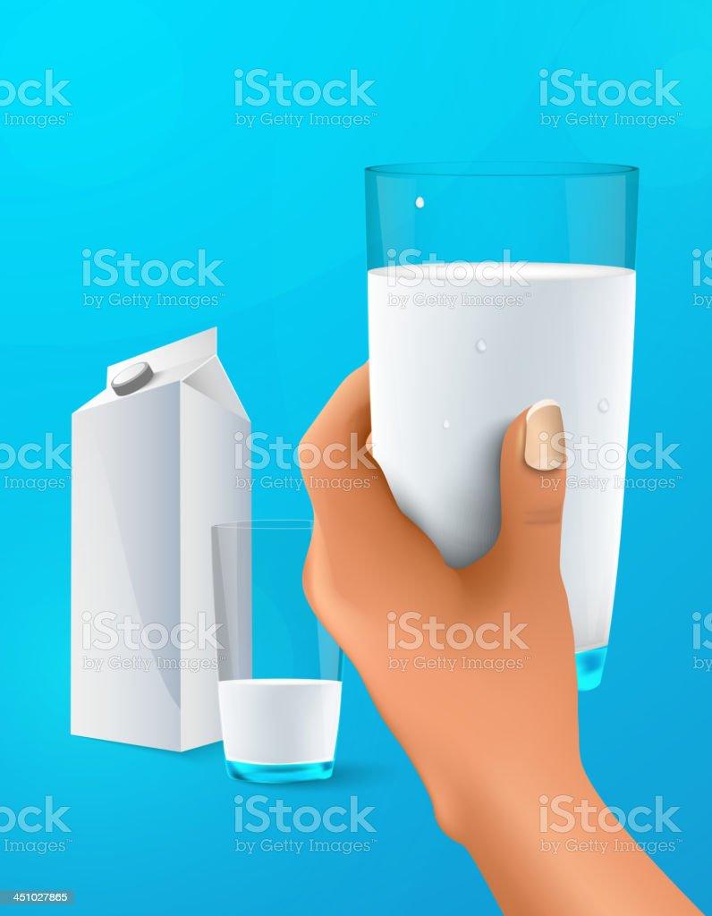 glass of milk vector art illustration