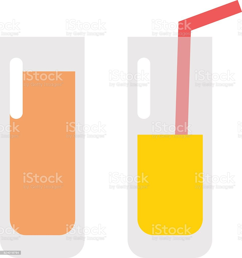 Glass of orange juice fresh drink beverage healthy flat isolated vector art illustration