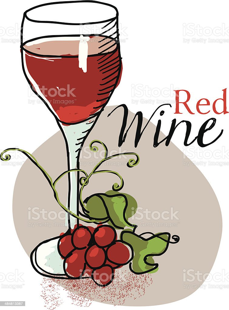 Glass of Red Wine and Grapes vector art illustration