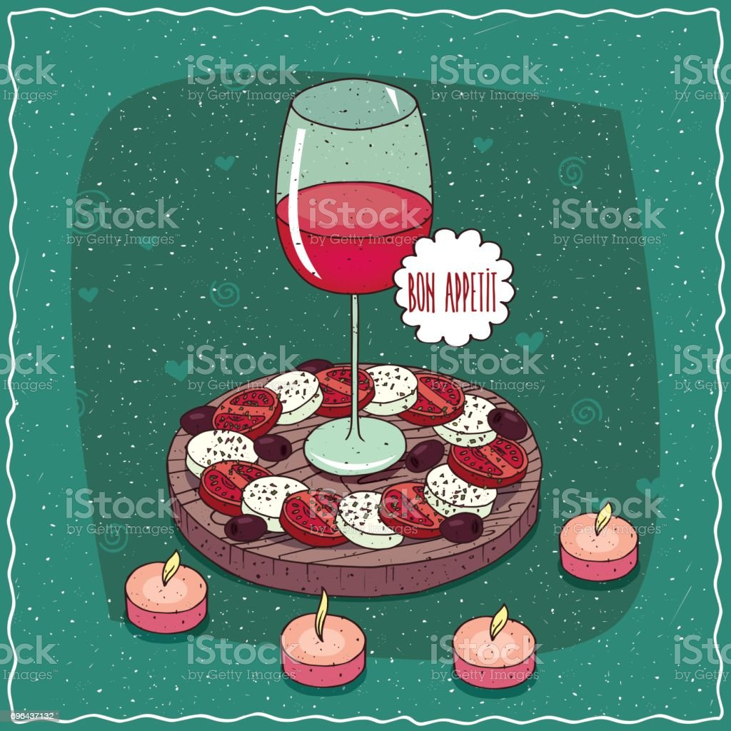 Glass of red wine and salad Caprese vector art illustration