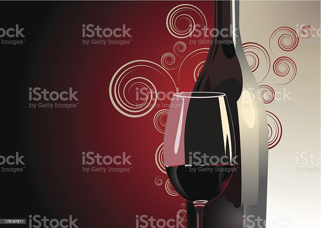 A glass of red wine with a swirly background design royalty-free stock vector art
