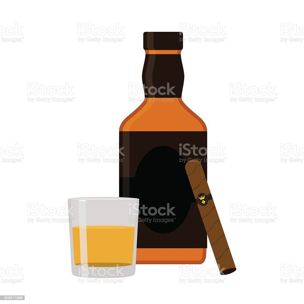 Glass of rum, cigar, whiskey. Premium alcohol, tobacco. Flat style vector art illustration