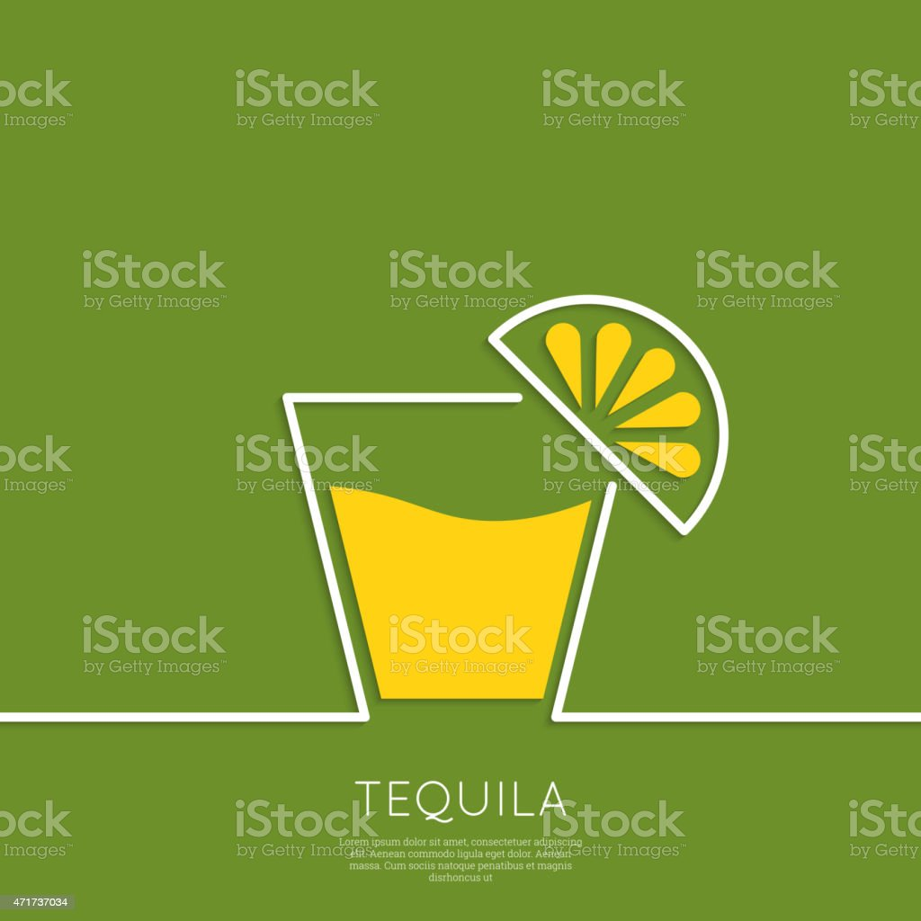 Glass of tequila with lemon vector art illustration
