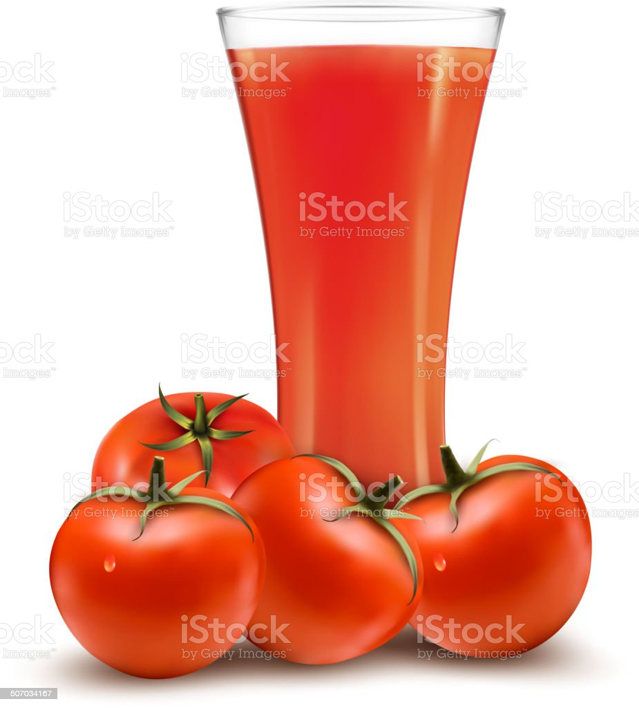 Glass of tomato juice and some ripe tomatoes. Vector. royalty-free stock vector art