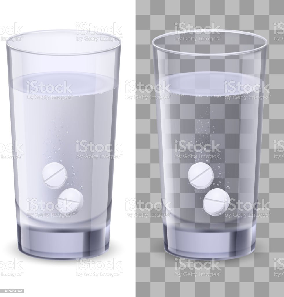 Glass of water and pills royalty-free stock vector art