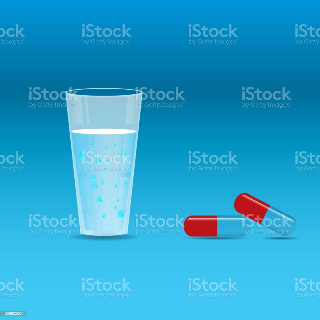 glass of water and some pills. vector art illustration