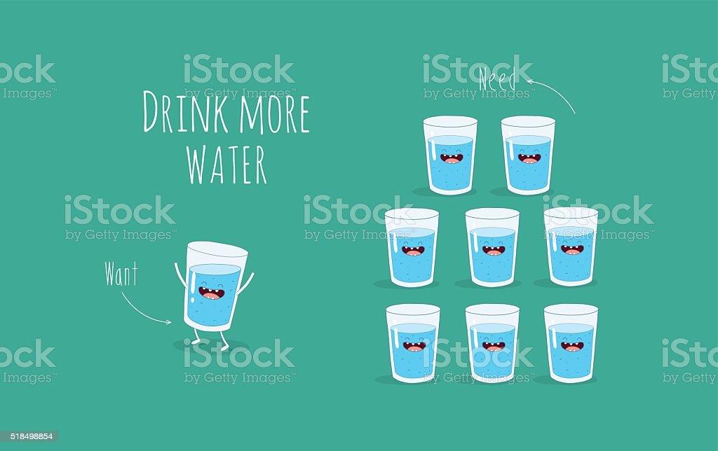 glass of water vector art illustration